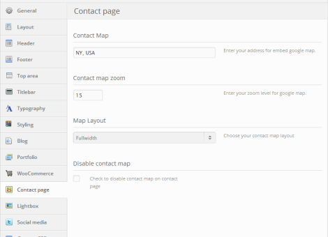 Contact Page Options
